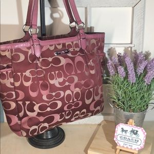 Coach ~ Burgundy & Shades Of Pink Signature Bag